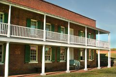 Fort McHenry National Monument in Baltimore, Maryland. Historic army barracks at Fort McHenry, site of the defending American army during the siege of Baltimore Royalty Free Stock Photo
