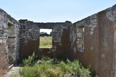 Fort McKavett ruins in Central Texas. This image was taken at Fort McKavett in Central Texas Sept of 2017 Royalty Free Stock Photos