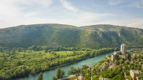Fort met bergen in Bosnië - Herzegovina royalty-vrije stock foto