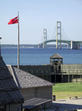 Fort Michilimackinac and Mackinaw Bridge Royalty Free Stock Photos