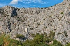 Mirabella fortress, mountain range, Omis Croatia stock photography