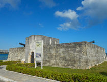Fort Montagu Nassau. Fort Montagu small fort of four cannons built in 1741 in New Providence Island Nassau Bahamas USA Royalty Free Stock Images