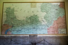 Fort Montecchio Nord,Barracks room with map on the wall of the Colico Zone, Valtellina and Switzerland in the war zone
