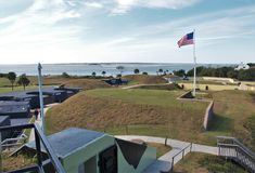 Fort Moultrie. Is a series of fortifications on Sullivan`s Island, South Carolina, built to protect the city of Charleston, South Carolina Royalty Free Stock Photo
