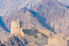 Fort of Mutrah, Muscat, Oman. Views of the fort of Mutrah from the Watch Tower, Muscat, Sultanate of Oman Stock Image