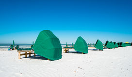 Fort Myers Beach. Cabanas along popular Fort Myers Beach on the west coast of Florida Stock Image