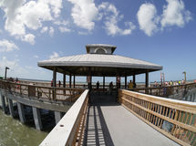Fort Myers Beach Fishing Pier, Florida. Destination - Fort Myers Beach, Florida.  A fisheye lens view of the fishing pavilion at Fort Myers Beach Florida from Stock Photography