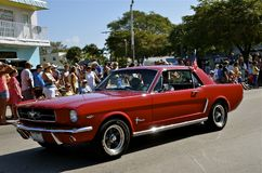 Restored 1966 red Mustang convertible. FORT MYERS BEACH, FLORIDA, March 13, 2015: The red restored 1966 Ford Mustang is part of the parade sponsored each year by Royalty Free Stock Photo