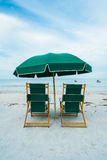 Fort Myers Beach. Lounge chairs along popular Fort Myers Beach on the west coast of Florida Stock Photos