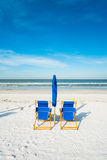 Fort Myers Beach. Lounge chairs along popular Fort Myers Beach on the west coast of Florida Royalty Free Stock Photos