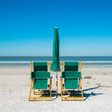 Fort Myers Beach. Lounge chairs along popular Fort Myers Beach on the west coast of Florida Stock Photography