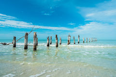 Fort Myers Beach. Rustic decaying pier along Fort Myers Beach on the west coast of Florida Royalty Free Stock Images