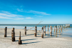 Fort Myers Beach. Rustic decaying pier along Fort Myers Beach on the west coast of Florida Stock Photos