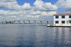 Fort Myers, Florida. Bridge causeway on a cloudy afternoon Royalty Free Stock Photography