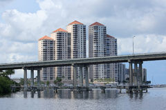 Fort Myers Skyline and Caloosahatchee Bridge. Skyline of Downtown Fort Myers River District in Fort Myers, Florida, USA Royalty Free Stock Photo