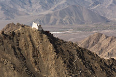 Fort and Namgyal or red gompa is main Buddhist centre in Leh-Lad Royalty Free Stock Photo