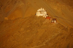 Fort and Namgyal or red gompa is main Buddhist centre in Leh, In Royalty Free Stock Photo