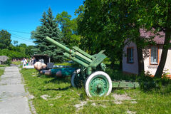 Fort No. 5. KALININGRAD, RUSSIA - JUNE 27, 2015: Soviet 122-mm howitzer model 1938 at the exhibition of arms at Fort No. 5 in Kaliningrad Royalty Free Stock Photography