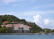 Fort Oscar and Hotel de Ville in Gustavia, St. Barts, French West Indies Stock Image