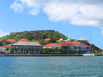 Fort Oscar , Hotel de Ville and Wall House in Gustavia, St. Barts Royalty Free Stock Photography