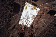Fort overgrown with branches. Redi fort Yashwantgad Fort. India, Maharashtra. Royalty Free Stock Images