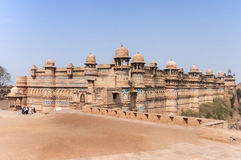 Fort and Palace of India's Gwalior is built on a cliff. Stock Photos