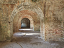 Fort Pickens Arches 3. Brick arches and gun placements in a civil war era Fort Pickens in the Gulf Islands National Seashore near Pensacola, Florida Stock Photo