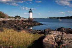 Fort Pickering (Winter Island) Light in Salem Massachusetts. Fort Pickering (Winter Island) lighthouse in early evening, in Salem, Massachusetts Stock Images