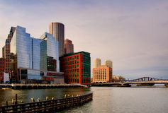 Fort Point Channel. A view of Fort Point Channel from Congress St. looking towards Seaport Boulevard and the Northern Avenue bridge royalty free stock photos
