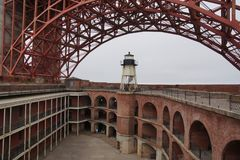 Fort point with golden gate bridge royalty free stock image