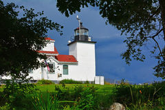 Fort Point Lighthouse. Maine approaching thunderstorm Stock Image
