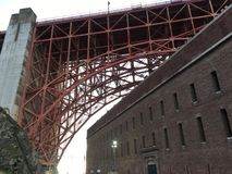 Fort Point shown under the latticework of Golden Gate Bridge. San Francisco`s only true American Cvil War project, Fort Point was finished February 1861, only Royalty Free Stock Photos