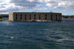 Fort Popham, Phippsburg ICH, genommen vom Wasser Stockbild