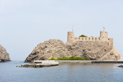 Fort protecting the palace of the Sultan of Oman royalty free stock photography