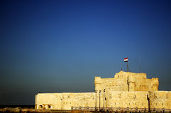 Fort Qaitbey. Fort built on the spot of the great lighthouse of Alexandria Stock Image