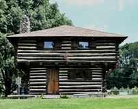 Fort Quiatenon Relica. This is a Summer picture of the replica Of Fort Quiatenon located in West Lafayette, Indiana in Tippecanoe County. This two-story Log stock photos