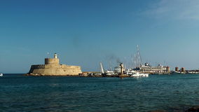 Fort in rhodes port. stock footage