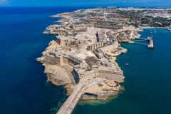 Fort Ricasoli aerial view. Island of Malta from above. Bastioned fort built by the Order of Saint John in Kalkara, Malta. royalty free stock image