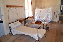 Fort Richardson Military Hospital. Visitors may tour the original hospital building from the days when Fort Richardson in Texas was a military outpost guarding Royalty Free Stock Images