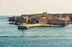 Fort Rinella Valetta Malta. View of Fort Rinella from St. Elmo, Valetta, Malta Stock Photo