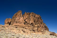 Fort Rock State Park. Photo of the outside of the hollow crater of Fort Rock State Park, near Bend, Oregon, USA stock image