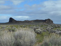 Fort Rock State Park - Central Oregon. Fort Rock, a volcanic rock formation near the town of Fort Rock, Oregon stock photo