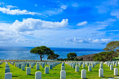 Fort Rosecrans National Cemetary. This image was captured at Fort Rosecrans National Cemetery in San Diego, California Royalty Free Stock Images