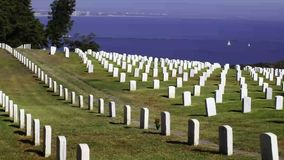 Fort Rosecrans National Cemetery in San Diego stock video