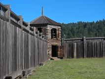 Fort Ross. A guard house on the perimeter of the old Russian fort - Fort Ross, California stock photos