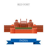 Fort rouge à New Dehli, points de repère plats d'attraction de vecteur d'Inde Photos stock