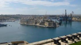 Fort Saint Angelo, Valletta, Malta. View of Grand Harbour of Valletta and fort Saint Angelo stock footage