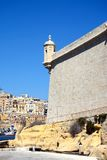 Fort Saint Angelo, Vittoriosa. Corner tower on Fort Saint Angelo with views towards Valletta, Vittoriosa Birgu, Malta, Europe Stock Photo