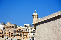 Fort Saint Angelo, Vittoriosa. Corner tower on Fort Saint Angelo with views towards Valletta, Vittoriosa Birgu, Malta, Europe Royalty Free Stock Photos
