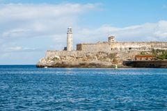 Fort of Saint Charles in Havana Cuba and sea royalty free stock photo
